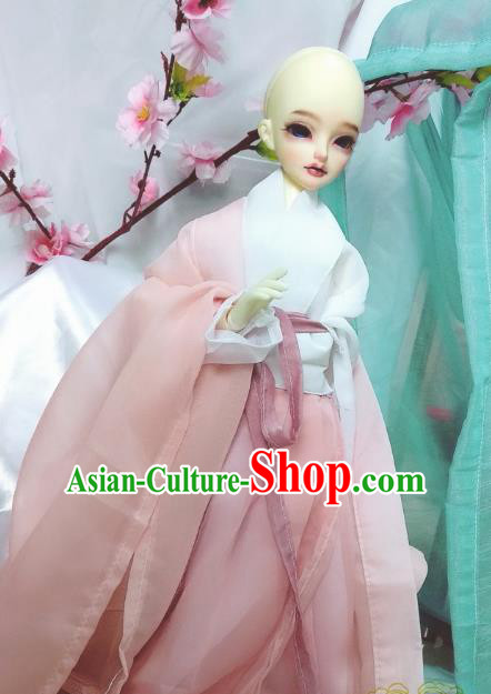 Chinese Ancient Cosplay Swordsman Pink Hanfu Dress Ming Dynasty Taoist Nun Costume for Women