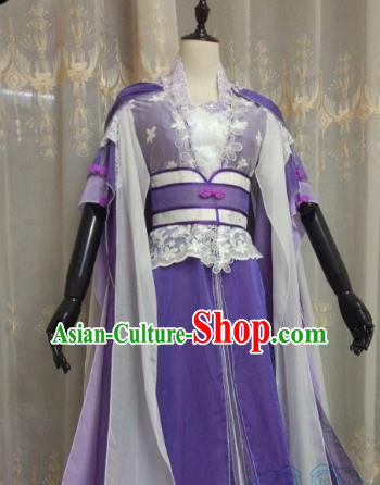 Chinese Ancient Fairy Costume Cosplay Swordswoman Clothing Jin Dynasty Nobility Lady Purple Hanfu Dress for Women