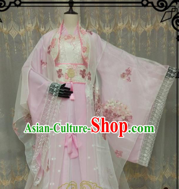 Chinese Ancient Fairy Costume Cosplay Swordswoman Clothing Tang Dynasty Nobility Lady Pink Hanfu Dress for Women