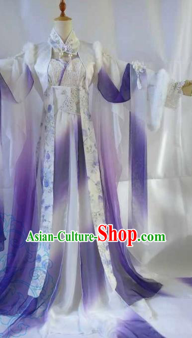Chinese Ancient Fairy Costume Cosplay Swordswoman Clothing Tang Dynasty Nobility Lady Purple Hanfu Dress for Women