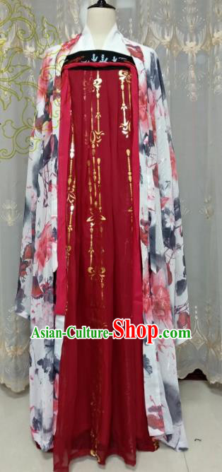 Chinese Ancient Fairy Costume Cosplay Swordswoman Clothing Tang Dynasty Imperial Concubine Red Hanfu Dress for Women