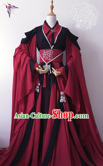 Chinese Ancient Nobility Childe Royal Highness Red Costume Cosplay Swordsman Embroidered Clothing for Men