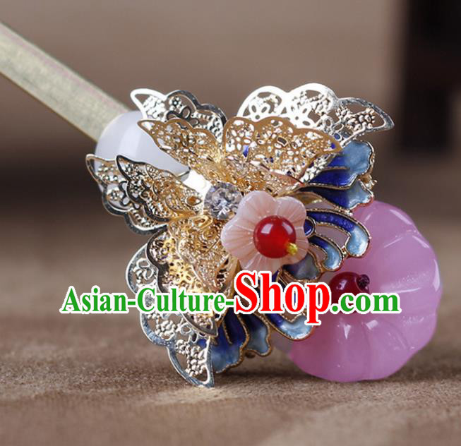 Chinese Traditional Handmade Hair Accessories Ancient Hairpins Hanfu Blueing Butterfly Hair Clip for Women