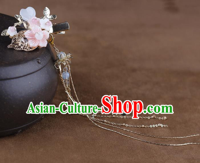 Chinese Traditional Handmade Hair Accessories Ancient Moon Hairpins Hanfu Tassel Hair Claw for Women