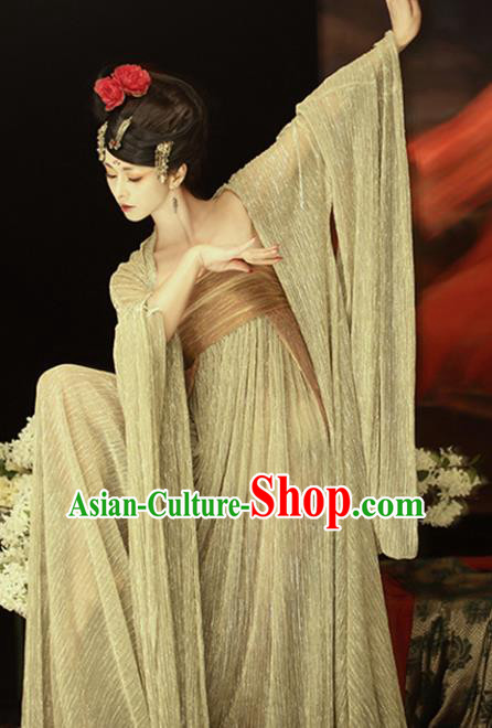 Chinese Ancient Palace Lady Hanfu Dress Traditional Tang Dynasty Princess Embroidered Costume and Headdress for Women