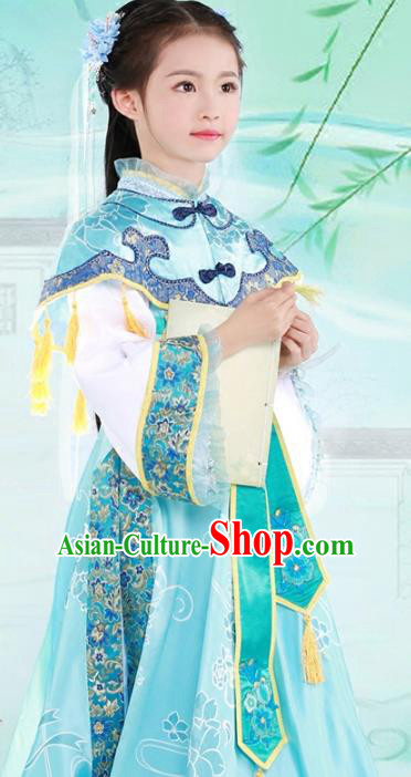 Chinese Ancient Nobility Lady Embroidered Costume Ming Dynasty Princess Clothing for Kids