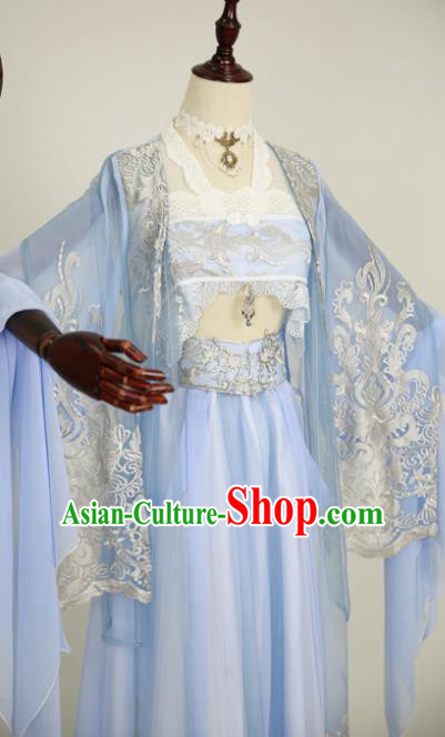 Chinese Ancient Cosplay Fairy Costume Han Dynasty Princess Embroidered Blue Hanfu Dress for Women