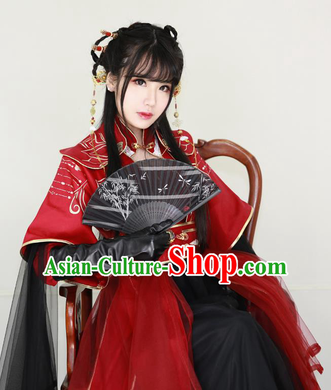 Chinese Ancient Cosplay Swordswoman Costume Ming Dynasty Young Lady Embroidered Red Hanfu Dress for Women