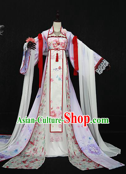 Chinese Ancient Cosplay Princess Costume Tang Dynasty Palace Lady Embroidered Hanfu Dress for Women