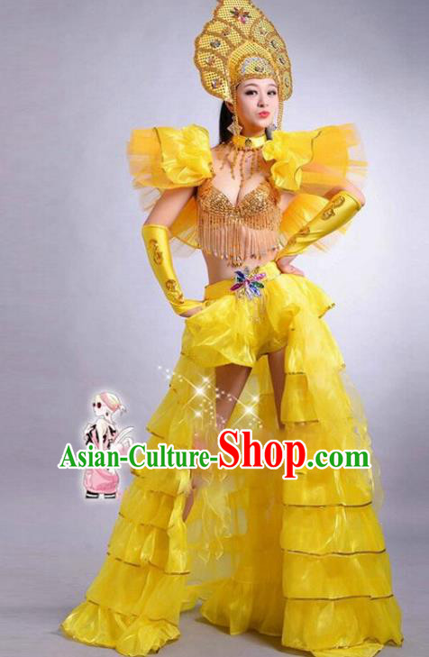 Top Grade Stage Performance Modern Dance Costume Opening Dance Yellow Clothing and Headpiece for Women