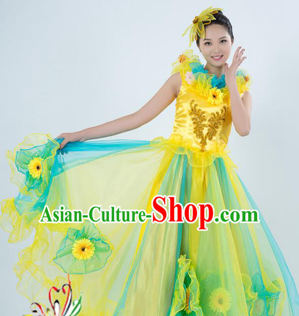 Top Grade Stage Performance Folk Dance Costume Opening Modern Dance Yellow Dress and Headpiece for Women