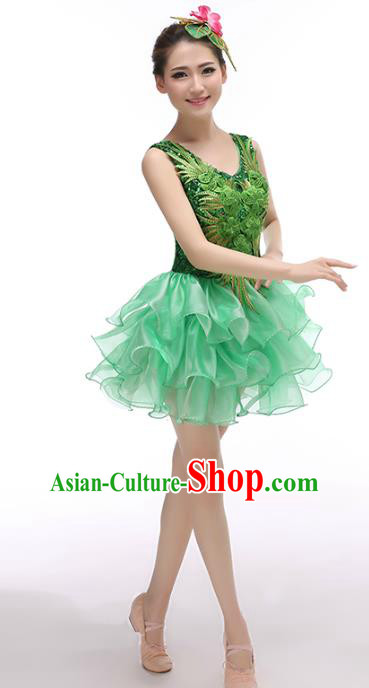 Top Grade Stage Performance Costume Chorus Singing Group Opening Modern Dance Green Bubble Dress for Women