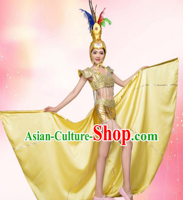 Top Grade Stage Performance Jazz Dance Costume Chorus Modern Dance Golden Clothing and Headpiece for Women