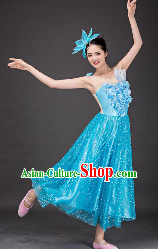 Top Grade Stage Performance Folk Dance Costume Chorus Modern Dance Blue Dress for Women