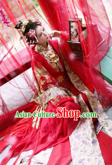 Chinese Ancient Wedding Embroidered Costume Song Dynasty Imperial Consort Red Hanfu Dress for Women