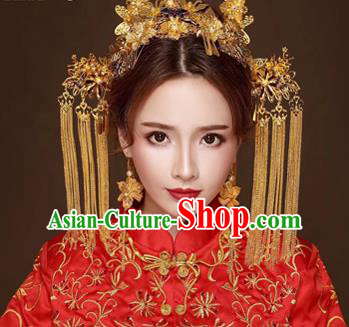 Chinese Traditional Handmade Bride Tassel Step Shake Wedding Hair Accessories Ancient Hairpins Complete Set for Women