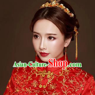 Chinese Traditional Hair Accessories Bride Xiuhe Suit Blueing Hair Clasp Ancient Hairpins Complete Set for Women