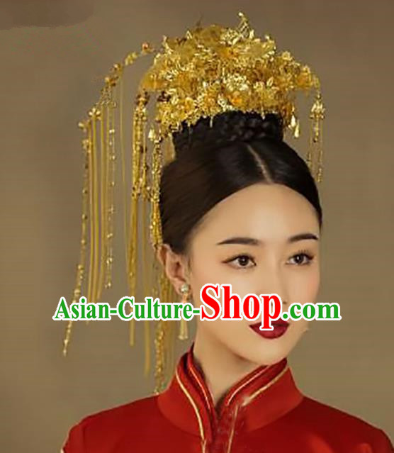 Chinese Traditional Hair Accessories Bride Xiuhe Suit Phoenix Coronet Ancient Tassel Hairpins Complete Set for Women