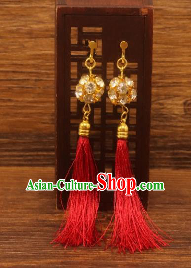 Traditional Chinese Jewelry Accessories Ancient Hanfu Red Tassel Earrings for Women