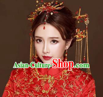 Chinese Traditional Handmade Bride Hair Accessories Ancient Hairpins Tassel Step Shake Complete Set for Women