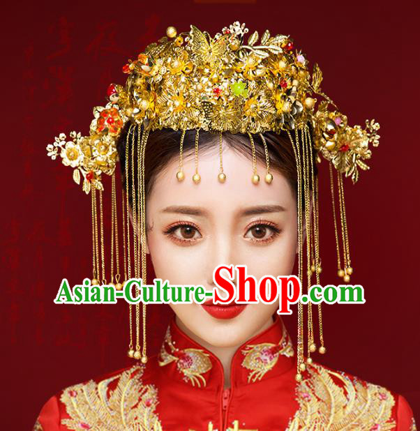 Chinese Traditional Xiuhe Suit Hair Accessories Ancient Handmade Phoenix Coronet Hairpins Complete Set for Women