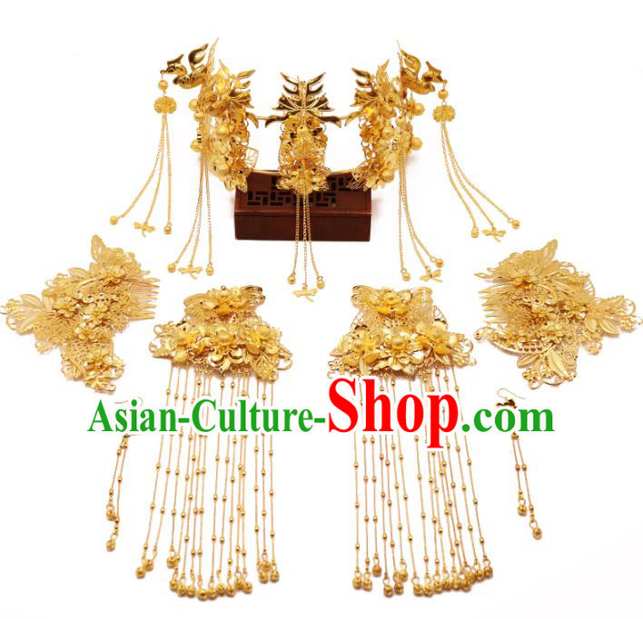Chinese Traditional Xiuhe Suit Hair Accessories Ancient Handmade Golden Phoenix Coronet Hairpins Complete Set for Women