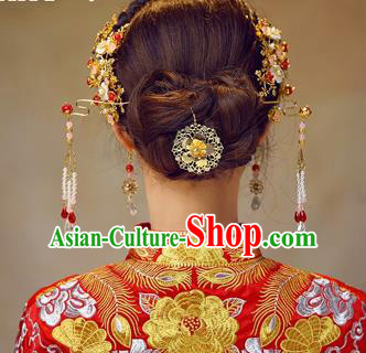 Chinese Traditional Handmade Bride Phoenix Coronet Hair Accessories Ancient Hairpins Tassel Step Shake Complete Set for Women