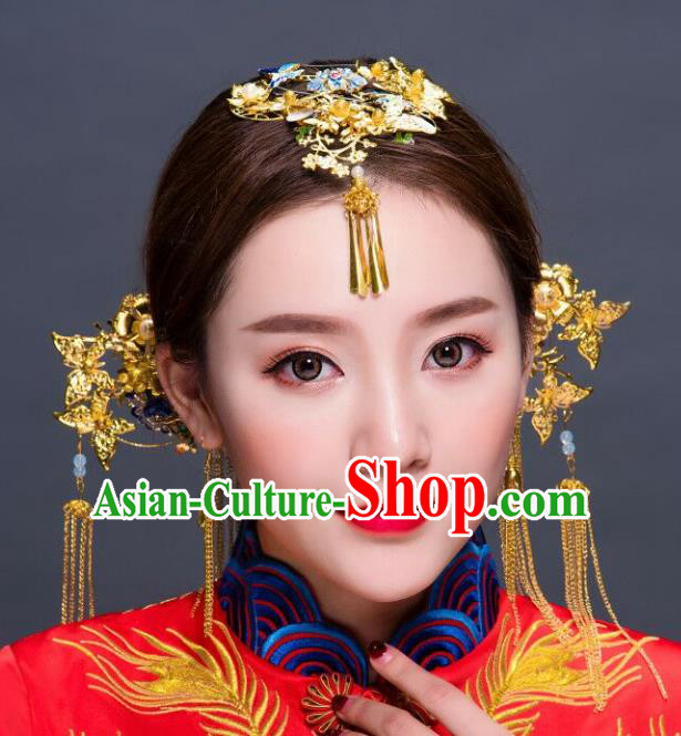 Chinese Traditional Hair Accessories Xiuhe Suit Handmade Blueing Lotus Phoenix Coronet Ancient Hairpins Tassel Step Shake for Women