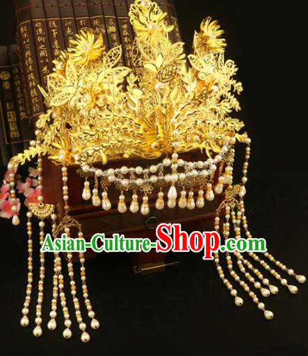 Chinese Traditional Handmade Hair Accessories Ancient Hairpins Xiuhe Suit Pearls Phoenix Coronet Complete Set for Women