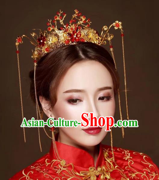 Chinese Traditional Xiuhe Suit Phoenix Coronet Hair Accessories Ancient Hairpins Complete Set for Women