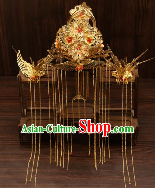 Chinese Traditional Wedding Xiuhe Suit Tassel Phoenix Coronet Hair Accessories Ancient Hairpins Complete Set for Women