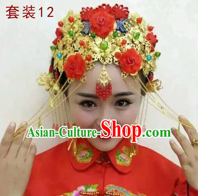 Chinese Traditional Wedding Xiuhe Suit Hair Accessories Ancient Hairpins Tassel Phoenix Coronet Complete Set for Women