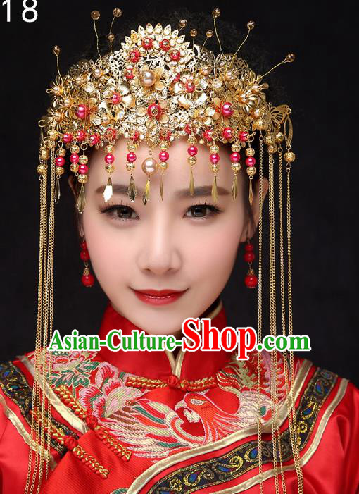Chinese Traditional Xiuhe Suit Hair Accessories Ancient Hairpins Wedding Tassel Phoenix Coronet Complete Set for Women