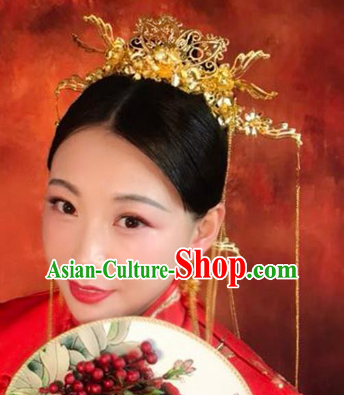 Chinese Traditional Xiuhe Suit Hair Accessories Ancient Bride Phoenix Coronet Hairpins Complete Set for Women