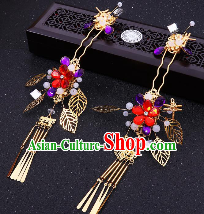 Chinese Traditional Xiuhe Suit Hair Accessories Flowers Tassel Hair Clips Ancient Bride Hairpins for Women