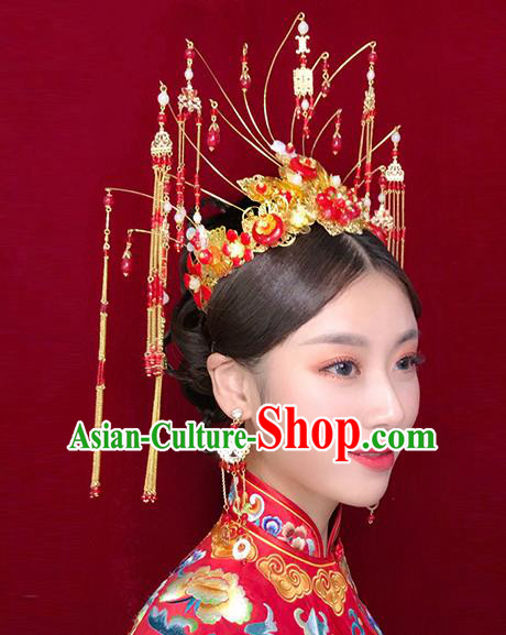 Chinese Traditional Xiuhe Suit Hair Accessories Red Beads Tassel Phoenix Coronet Ancient Bride Hairpins for Women