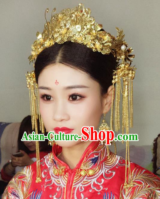 Chinese Traditional Hair Accessories Complete Set Ancient Xiuhe Suit Golden Phoenix Coronet Hairpins for Women