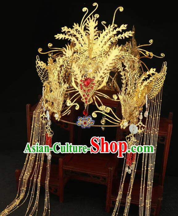 Chinese Traditional Hair Accessories Golden Tassel Phoenix Coronet Ancient Xiuhe Suit Hairpins Complete Set for Women