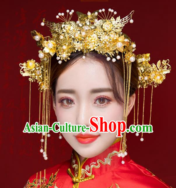 Chinese Traditional Xiuhe Suit Hair Accessories Ancient Handmade Phoenix Coronet Hairpins for Women