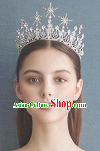 Baroque Style Hair Jewelry Accessories Bride Royal Crown Princess Crystal Imperial Crown Hair Clasp for Women