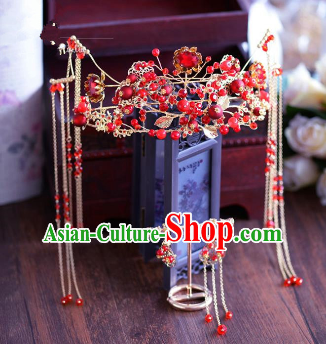 Chinese Traditional Handmade Hair Accessories Ancient Red Crystal Phoenix Coronet Tassel Hairpins for Women
