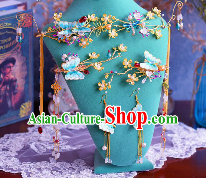 Chinese Traditional Handmade Hair Accessories Ancient Blue Butterfly Phoenix Coronet Hairpins for Women