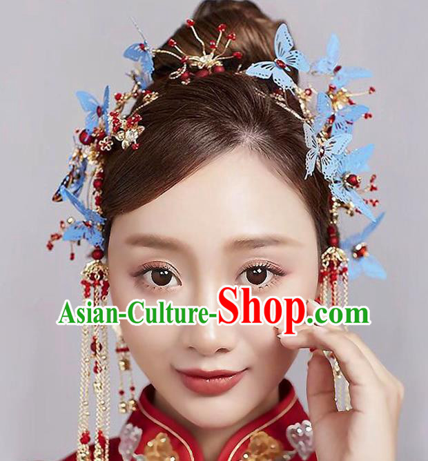 Chinese Traditional Handmade Hair Accessories Ancient Blue Butterfly Phoenix Coronet Hairpins Complete Set for Women