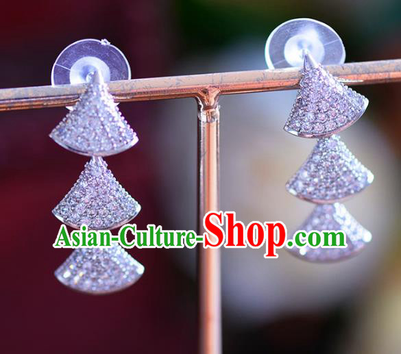 Chinese Handmade Jewelry Accessories Ancient Hanfu Zircon Earrings for Women