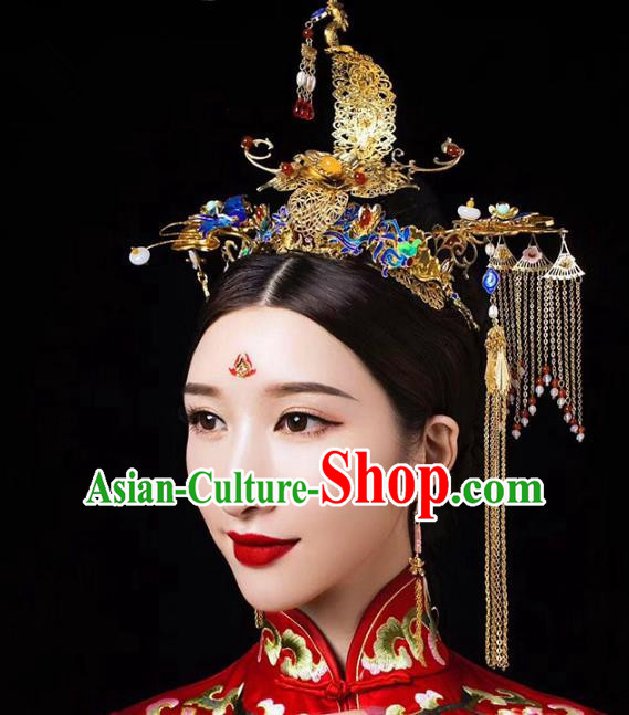Chinese Ancient Handmade Hair Accessories Traditional Cloisonne Phoenix Coronet Hairpins for Women