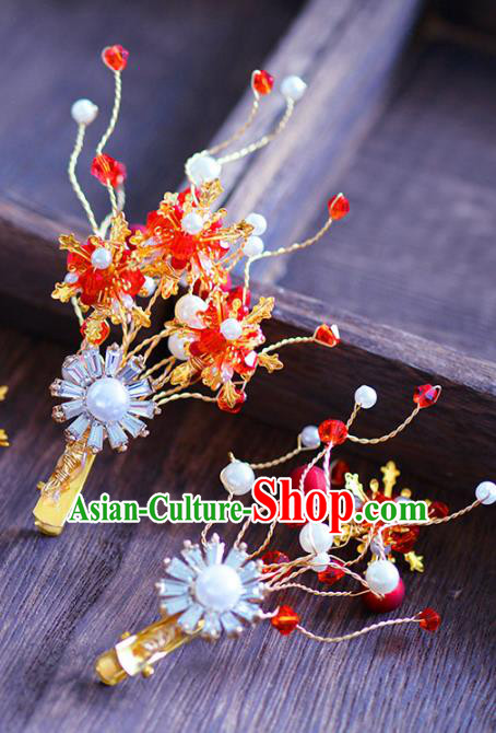 Top Grade Handmade Hair Accessories Bride Red Hair Claws Headwear for Women