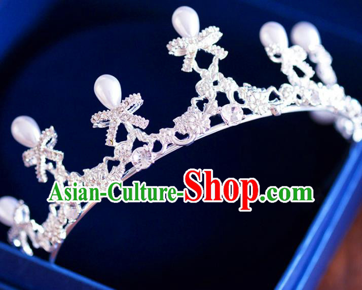 Handmade Baroque Style Hair Jewelry Accessories Bride Crystal Bowknot Royal Crown Princess Imperial Crown for Women
