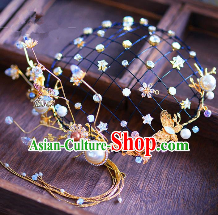 Top Grade Handmade Hair Accessories Bride Golden Hair Clasp Pearls Headwear for Women