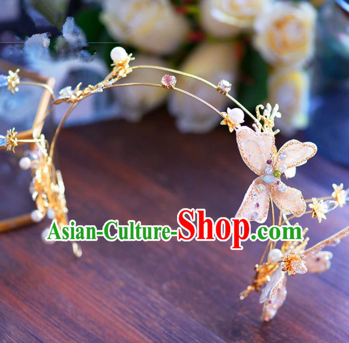Top Grade Handmade Hair Accessories Bride Pink Butterfly Hair Clasp Headwear for Women