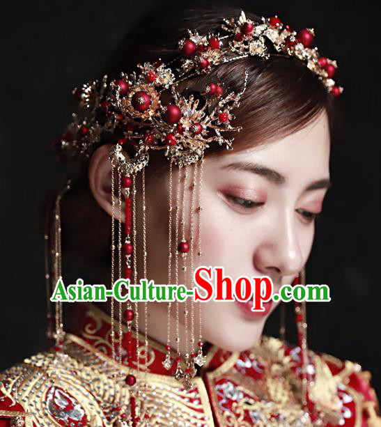 Chinese Ancient Handmade Hair Accessories Traditional Xiuhe Suit Hair Clips Hairpins Complete Set for Women